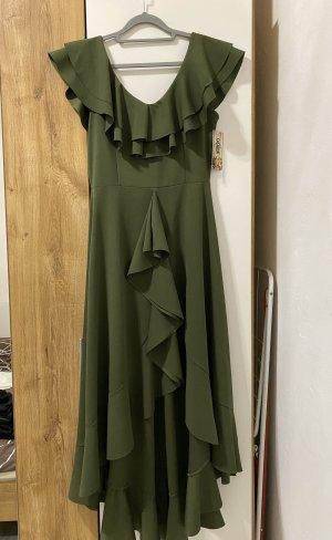 Sukienka z falbanami oliwkowy