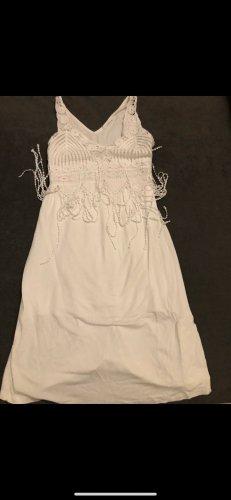 Topshow Vestido con flecos blanco