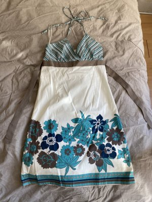 Vero Moda Sukienka z dekoltem typu halter jasnoniebieski-turkusowy Bawełna