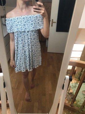 Sommer Kleid Off Shoulder Blau Weiß Geblümt M