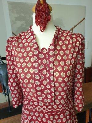 Sommer Kleid rot mit Blumen Muster 38