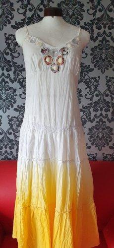 101 Idees Vestito da spiaggia bianco-giallo Cotone