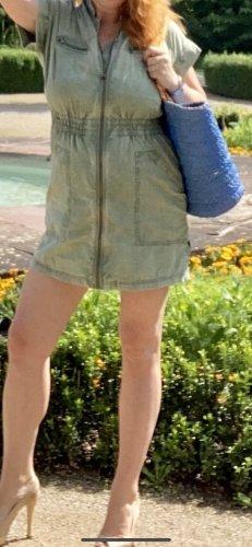 Sommer Mini Kleid 36 Esprit Baumwolle Khaki Reißverschluss vorne