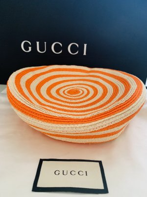 Gucci Beret oatmeal-neon orange