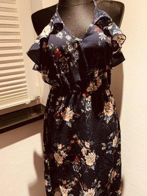 QED London Vestido de cuello Halter azul oscuro-albaricoque