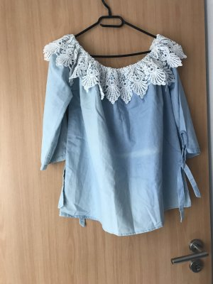 Dickey (for blouse) white-azure