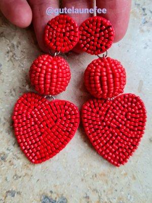 "Sommer Ohrringe ""rote Herzen"" handgemacht"