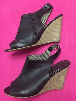 Plateauzool sandalen zwart-beige