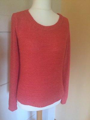 Be only Sweter z okrągłym dekoltem brzoskwiniowy Bawełna