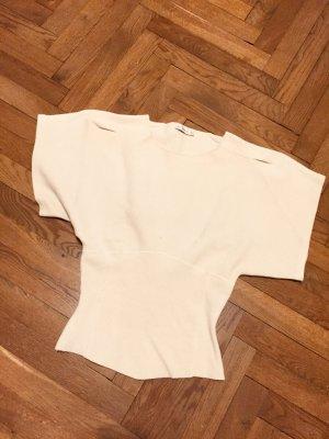 Zara Pull à manches courtes blanc cassé-beige clair tissu mixte