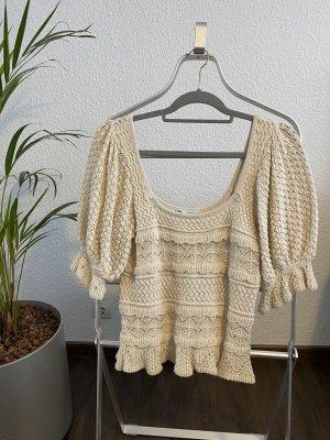 Zara Jersey de manga corta crema