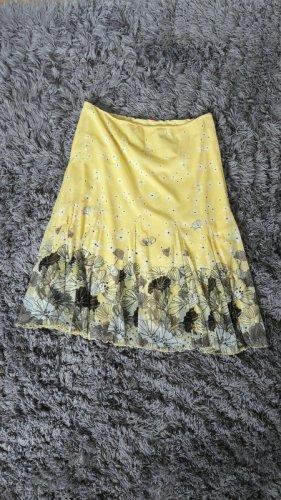 Sommer Rock gelb Ginko Blumen S.Oliver Midi