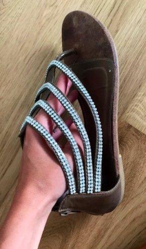 Sandalo toe-post marrone-grigio