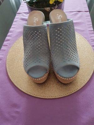 Sandales à plateforme bleu azur