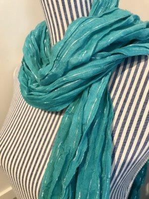 Sommer-Schal türkis mit silbernen Glitzerfäden