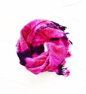 sommer schal / wildseide / vintage / pink / indigo / blau / hippie / boho