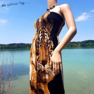 Sommer schwarz weiß Strandkleid Tuch Cocktail Beach Tunika Kleid TOP Tiger Motiv