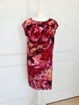 Sommer Seidenkleid Rot Kleid Blumen Muster Gestuz Seide Tunika bunt S