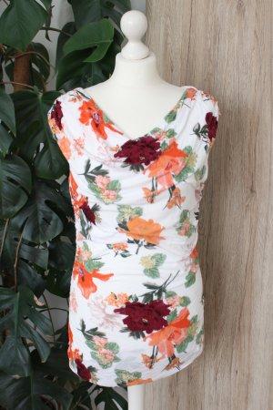 Sommer Shirt Blumen-Muster Top ärmellos Wasserfall-Ausschnitt L