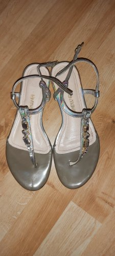Lamarthe High-Heeled Toe-Post Sandals silver-colored