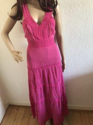 Sommer Strand Kleid Dress lang Maxikleid 100% Baumwolle in pink