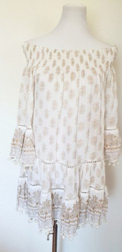 SOMMER Strand Kleid weiss gold mit Paisley Muster Gr 38 40 42