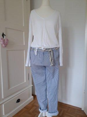 Pantalón elástico blanco-azul celeste