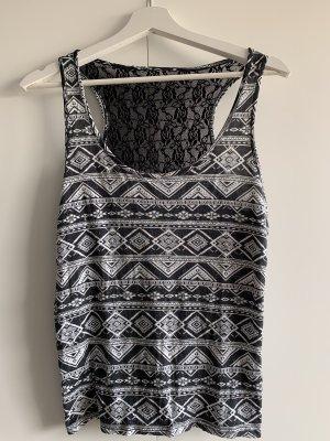 Unbekannte Marke Blusa sin espalda negro-blanco