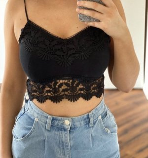 Topshop Crop-top noir