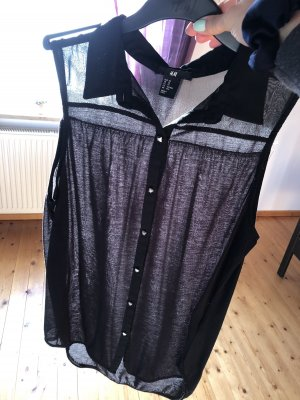 H&M Długi top czarny-srebrny
