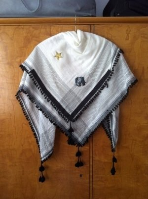 Tela palestino blanco-negro Algodón