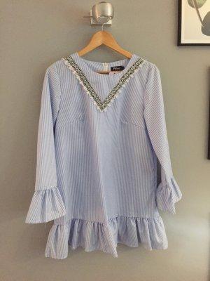 Robe tunique blanc-bleu azur