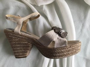 Castañer Wedge Sandals beige-silver-colored