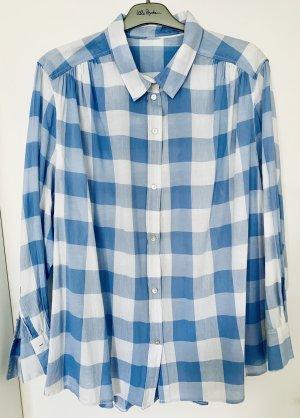 H&M Blusa a cuadros blanco-azul celeste Algodón