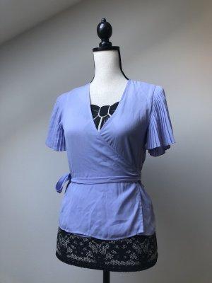 Zara Kopertowa bluzka błękitny Poliester