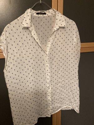 Mohito Short Sleeved Blouse white-dark blue