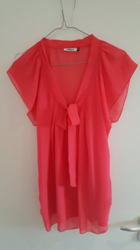 Be only Short Sleeved Blouse salmon-pink polyester