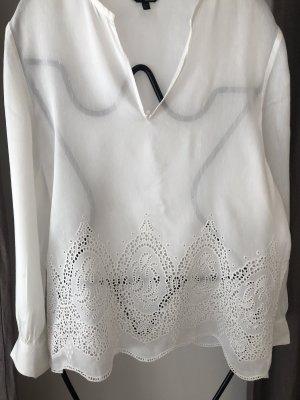 Massimo Dutti Blusa de túnica blanco puro Viscosa