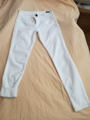Benetton Jeans Jersey Pants white-natural white mixture fibre