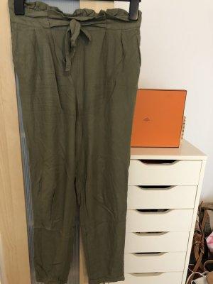 H&M Basic Spodnie khaki oliwkowy