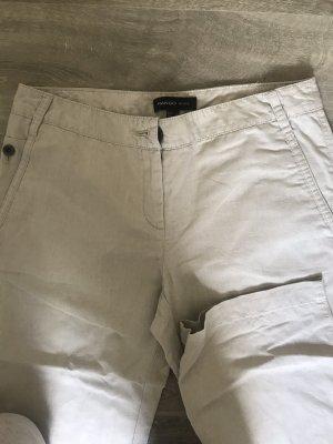 Mango Lniane spodnie jasnobeżowy