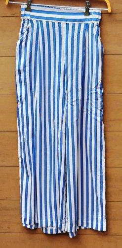 H&M Pantalone a zampa d'elefante blu-bianco Viscosa