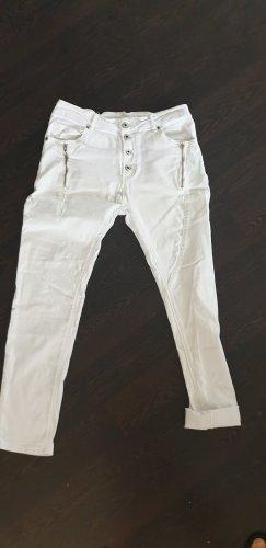 no name Spodnie typu boyfriend biały