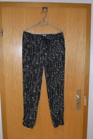 Khujo Spodnie materiałowe czarny-biały Wiskoza