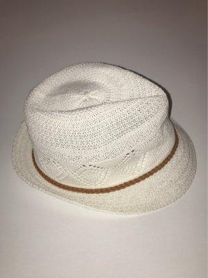Sombrero de ala ancha blanco-marrón
