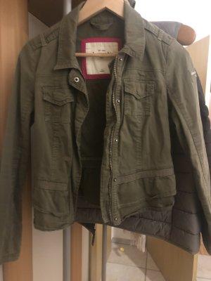 Abercrombie & Fitch Between-Seasons Jacket green grey-khaki cotton