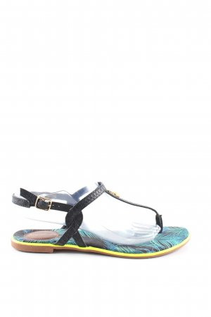 Sommerkind Dianette Sandals black-turquoise allover print casual look