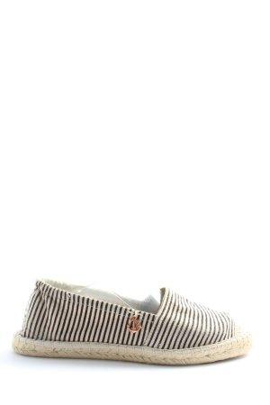 Sommerkind Espadrilles-Sandalen wollweiß-schwarz Streifenmuster Casual-Look