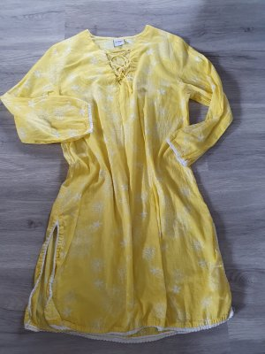 Vestido playero blanco-amarillo