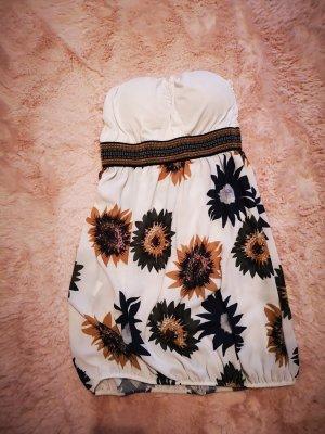 Sukienka z rękawem balonowym biały-bladożółty